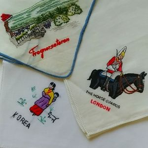 4/$15 - three souvenir embroidered handkerchiefs